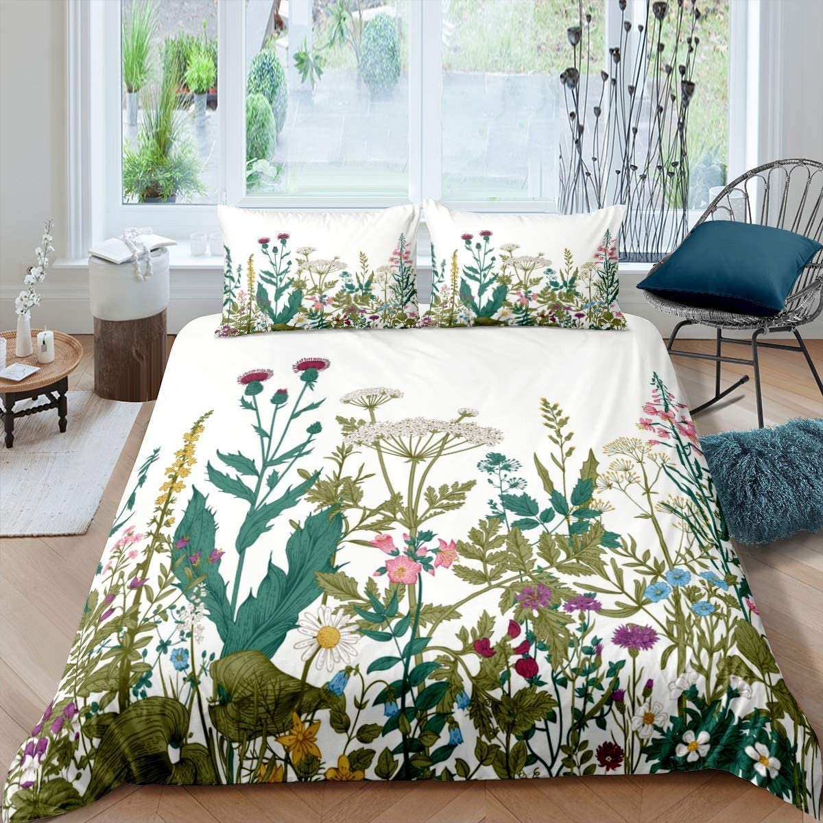Feelyou Botanical Duvet Cover Floral Print Bedding Set for Kids Women Adults Leaves and Branches Comforter Cover Blossom Flowers Bedspread Cover Bedroom Collection 2Pcs Twin Size