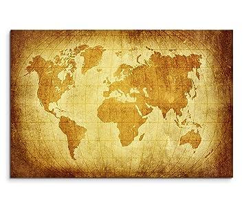 Amazon De 120x80cm Leinwandbild Auf Keilrahmen Weltkarte