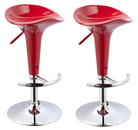 Duhome 2 PCS Contemporary Bombo Style Gloss Finish Adjustable Swivel Bar Stools Chairs for Bar Counter Top Pub Red