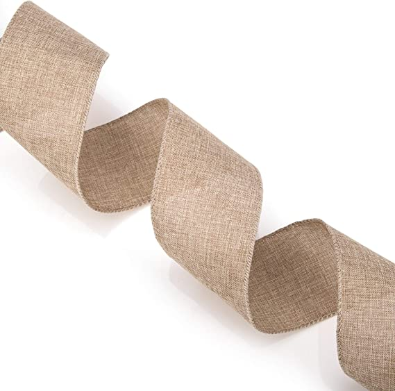NaturalCopper 2-12-Inch Glitter Berries and Branch Linen Wired Ribbon