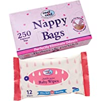 Cool & Cool C&C Nappy Bags 250's + Baby Wipes 12's Free, Pack of 2