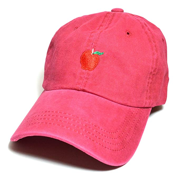 Apple Embroidered Hat Baseball Cap Polo Style Cotton Dad Unconstructed Hats  caps (Burgundy) c570e492ad4