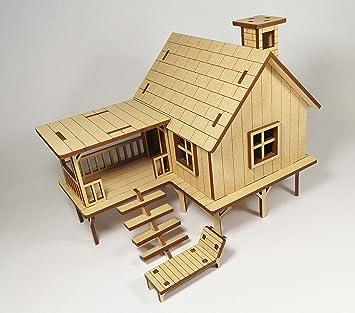 stonkraft wooden 3d puzzle beach house home decor construction toy modeling kit - House Model 3d