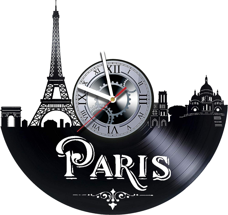 Paris France Skyline Wall Clock Wood Room Home Decor Gifts Theme Romantic Kitchen Office Business Christmas Anniversary Birthday Paris Clock