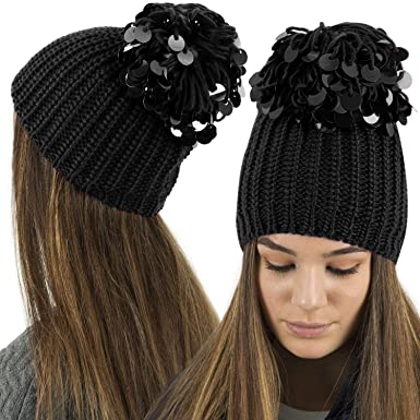 TOSKATOK® Ladies Womens Knitted HAT Beanie with Oversized Sequin POM POM -Black 008e6ea0bc2
