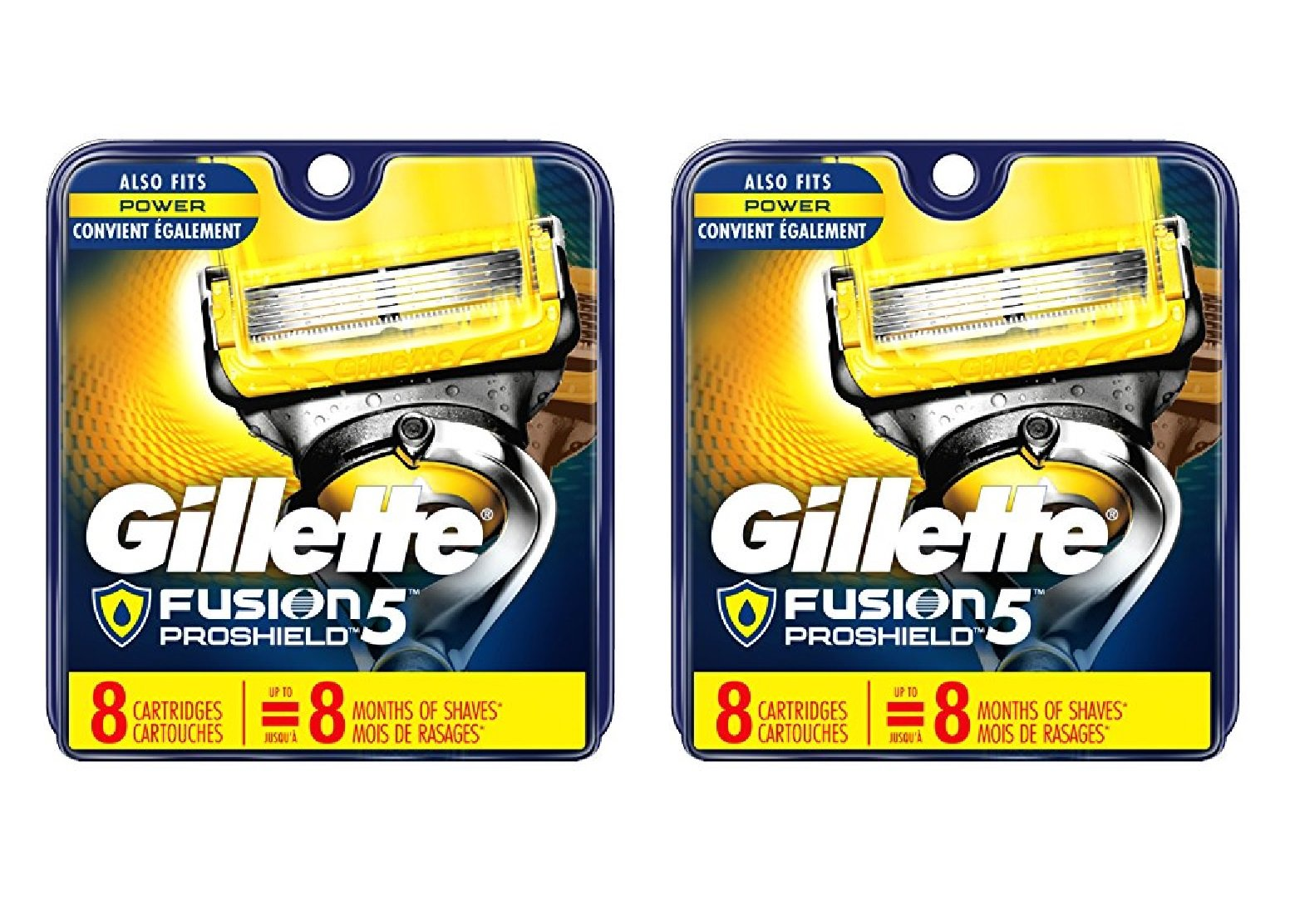 Gillette Fusion Proshield Cartridges, 8 Ct (Pack of 2) + FREE Eyebrow Razor, 3 Ct.
