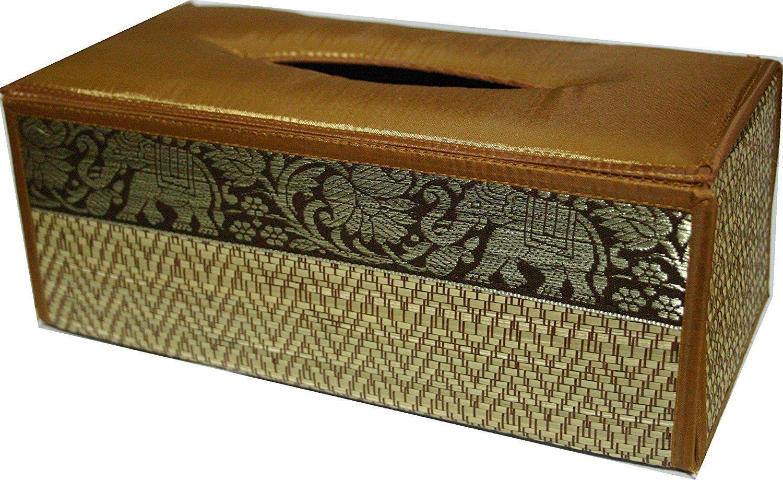 Thai Handicraft Reed and Silk Elephant Design Tissue Box Cover (Gold)
