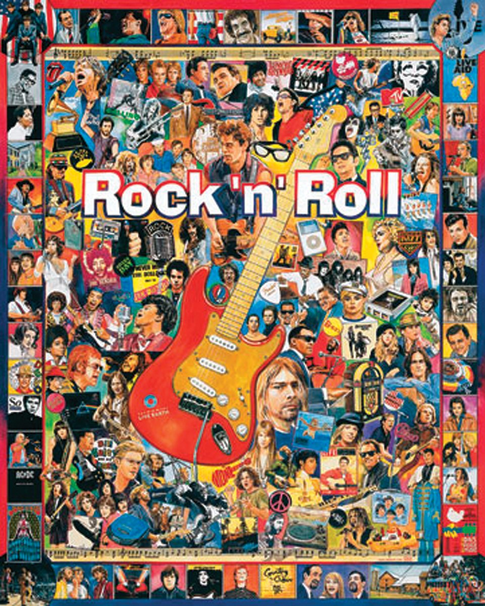 Rock n Roll puzzle with images of rock stars