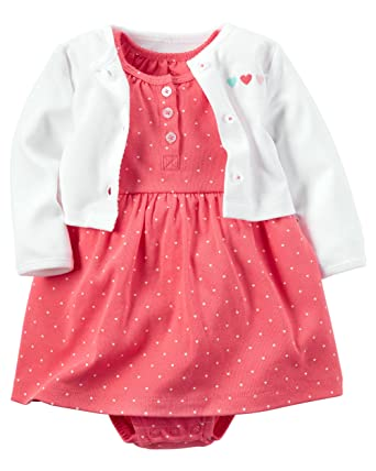 baby stores Carter's Baby Girls' 2 Piece Floral Dress Set White/Pink Hearts-3M