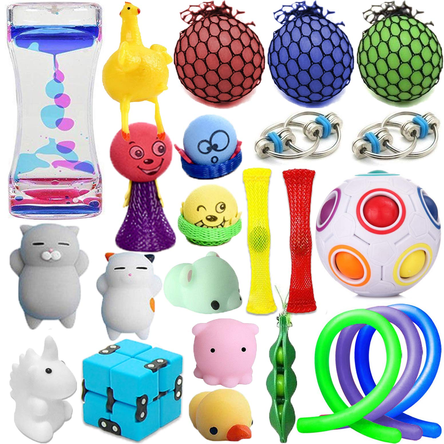 24 Pack Wankko Sensory Toys Set Relieves Stress & Anxiety Fidget Toy For Children Adult - Special Toys Assortment for Birthday Party Favors, Classroom Rewards Prizes, Carnival, Piñata Goodie Bag Fille