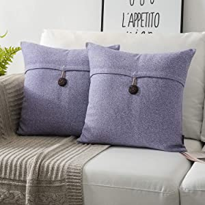 Phantoscope Pack of 2 Farmhouse Throw Pillow Covers Button Vintage Linen Decorative Pillow Cases for Couch Bed and Chair Purple 18 x 18 inches 45 x 45 cm