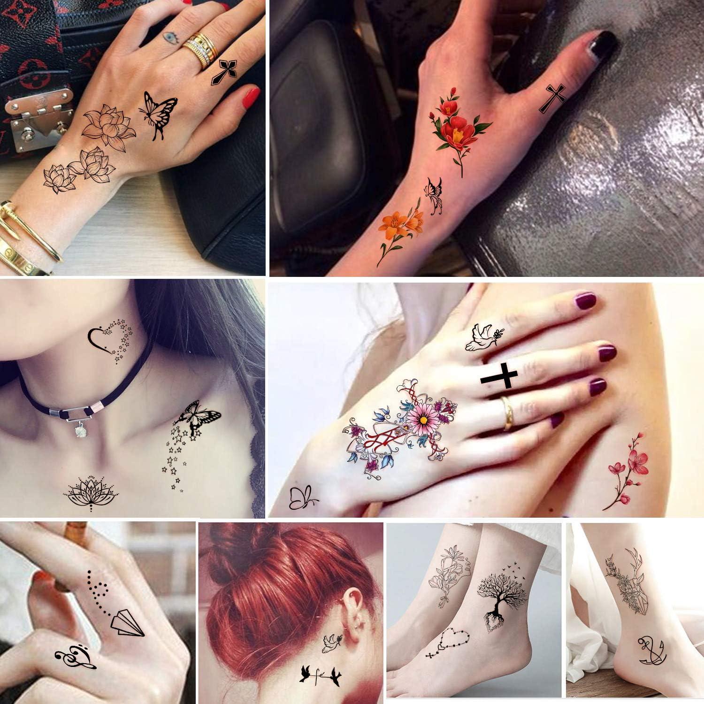 Yazhiji 60 hojas Pequeño tatuaje temporal a prueba de agua Luna Estrellas Constelaciones Música Brújula Ancla Palabras Líneas Flores para niños Adultos Hombres y mujeres: Amazon.es: Belleza