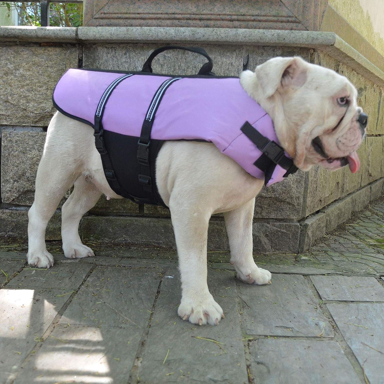 lovelonglong Dog Lifejacket Life Jackets for Small Dogs Swimming Safe Boating Coat Dog Swim Protect Reflective Vest Pet Life Preserver Blue M