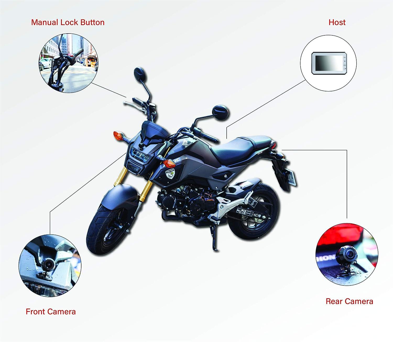 GLOBAL EAGLE Motorcycle Dash cam S1 3 LCD Screen 1080P HD Front Camera /& 720P HD Rear Camera