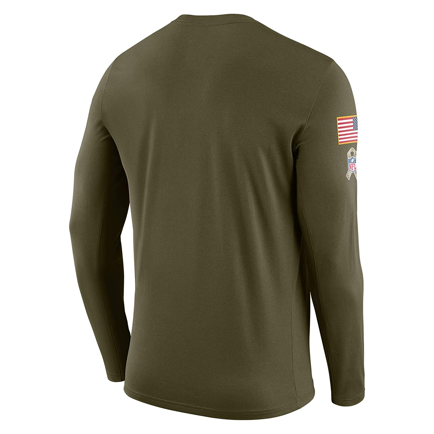 f0be337e17a Amazon.com : Kansas City Chiefs 2018 NFL Salute to Service Men's Olive STS Long  Sleeve : Sports & Outdoors