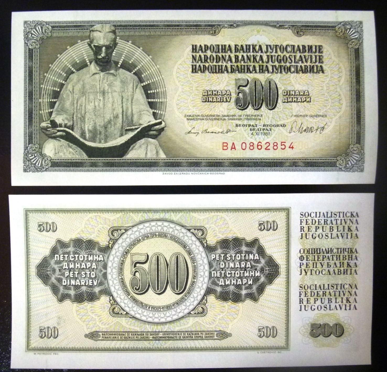 5 x 100 Dinara 1991 P-108 LOT Yugoslavia UNC /> Woman
