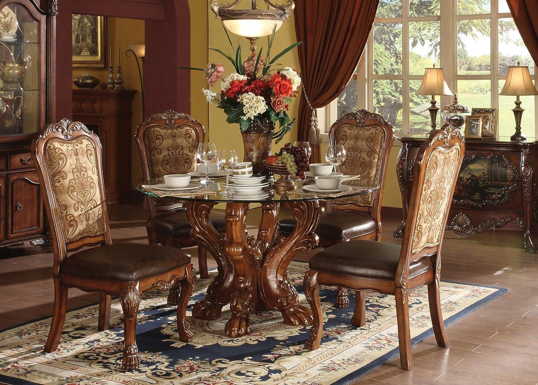 Amazon.com   ACME 60010 Dresden Dining Table, Cherry Oak Finish   Table U0026  Chair Sets