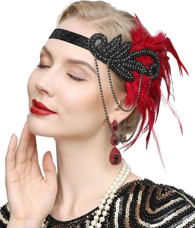 1920s Gatsby Flapper Feather Headband 20s accessories Crystal Beaded Wedding Headpiece