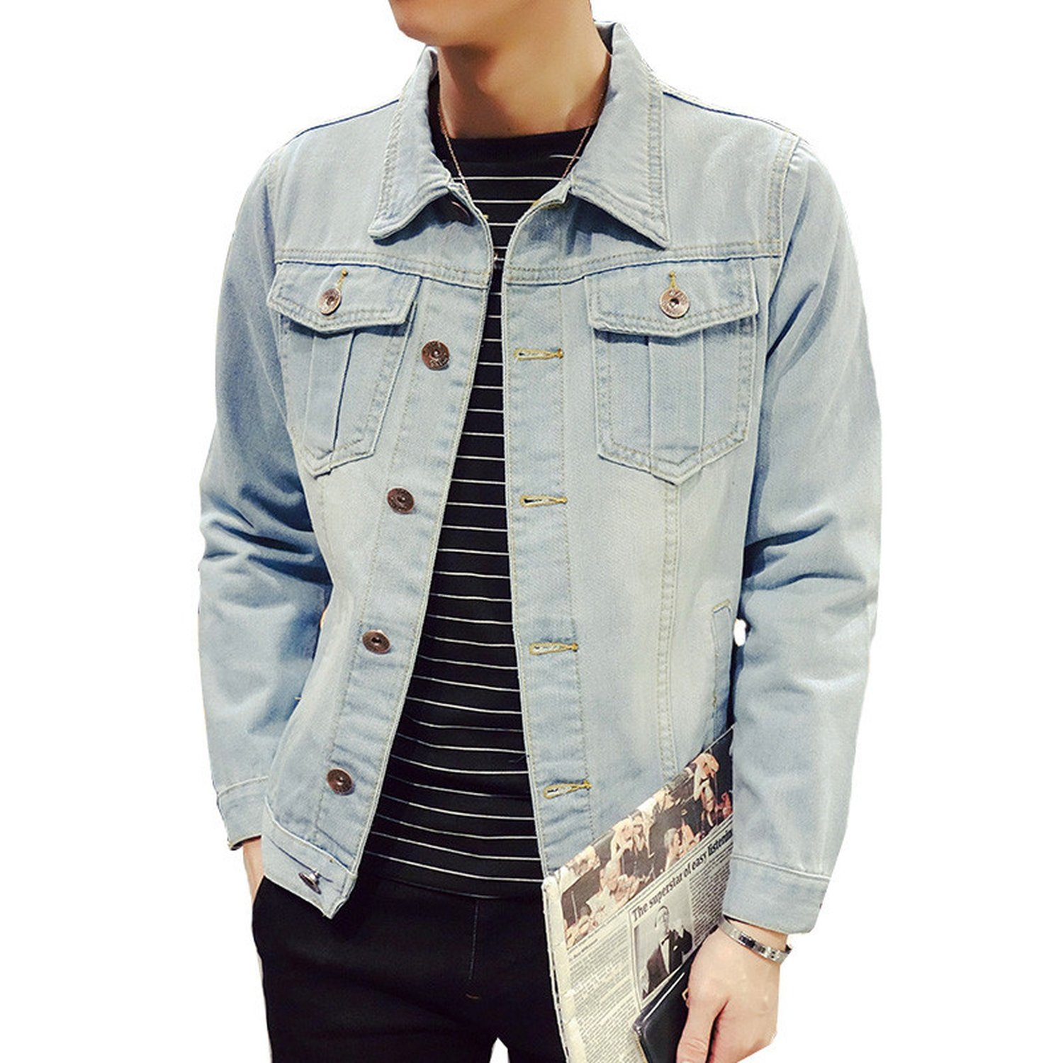 Denim Jacket Mens Solid Casual Slim Fit Bomber Jacket Men ...