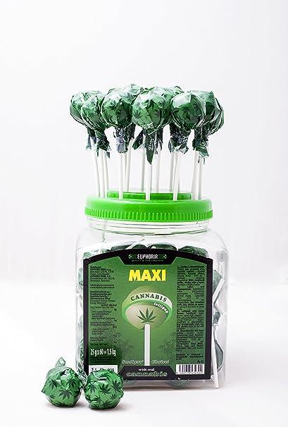 Euphoria Cannabis Lollipops (25 g x 60 Stück) | Kugel Lutscher - Lolly mit Hanf Geschmack (Hanf)