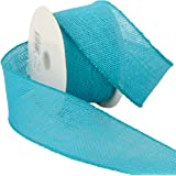 Morex Ribbon Burlap Wired Ribbon, 2-1/2-Inch by 10-Yard Spool, Turquoise