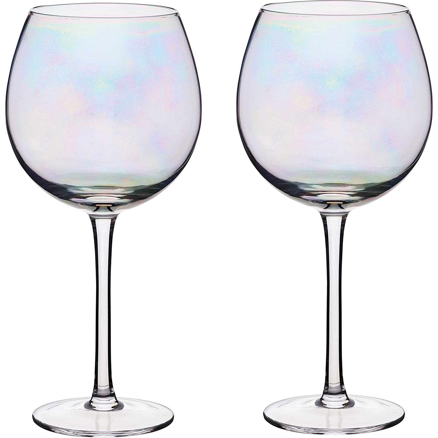 KitchenCraft BarCraft Balloon Gin Glasses, Rainbow-Pearl Iridescent, 500 ml, Set of 2