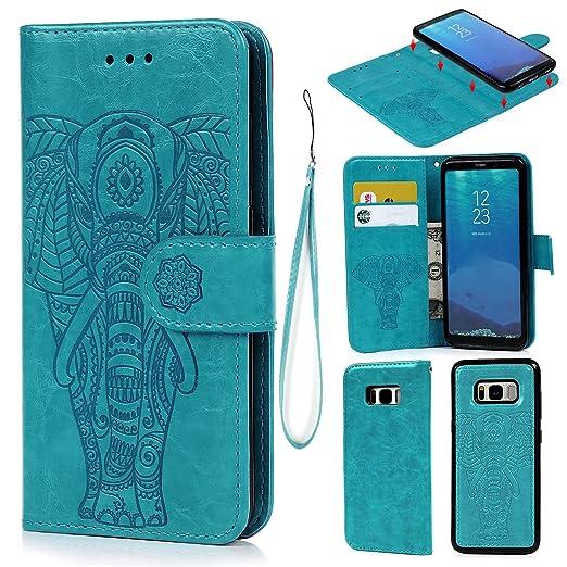 5 opinioni per Cover per Samsung Galaxy S8, Pelle Premium PU e Silicone TPU Case [2 in 1,