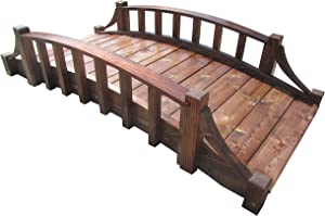 SamsGazebos Country Wood Garden Bridge, 6', Brown