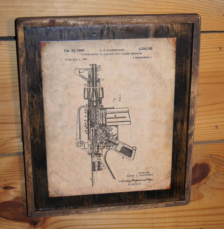Vintage 1964 M16 Rifle Patent Print - Wooden Sign