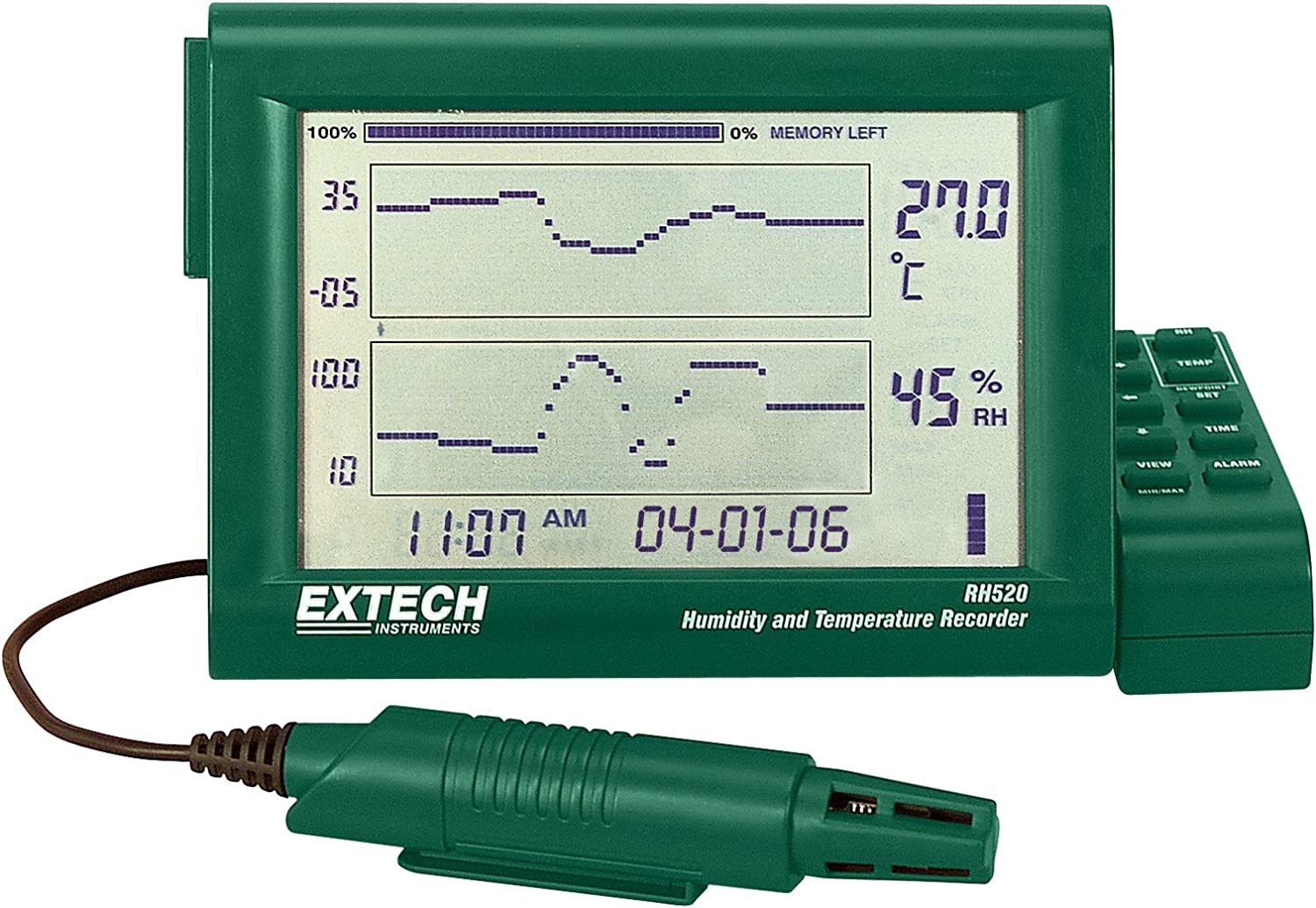 Extech RH520A Humidity//Temperature Paperless Recorder; Detachable Probe