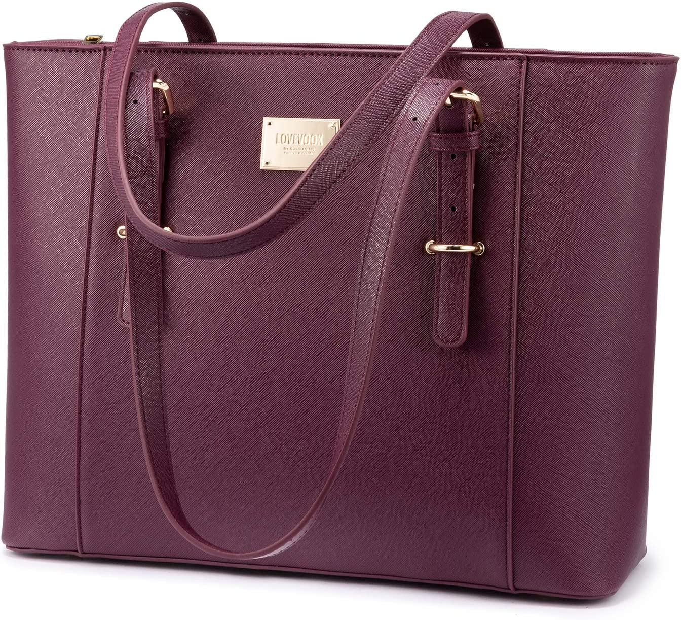 14-Inch Laptop Bag for Women, Professional Computer Bags - Laptop Purse with Padded Compartment - Fit Under Airplane Seat (Deep Plum)