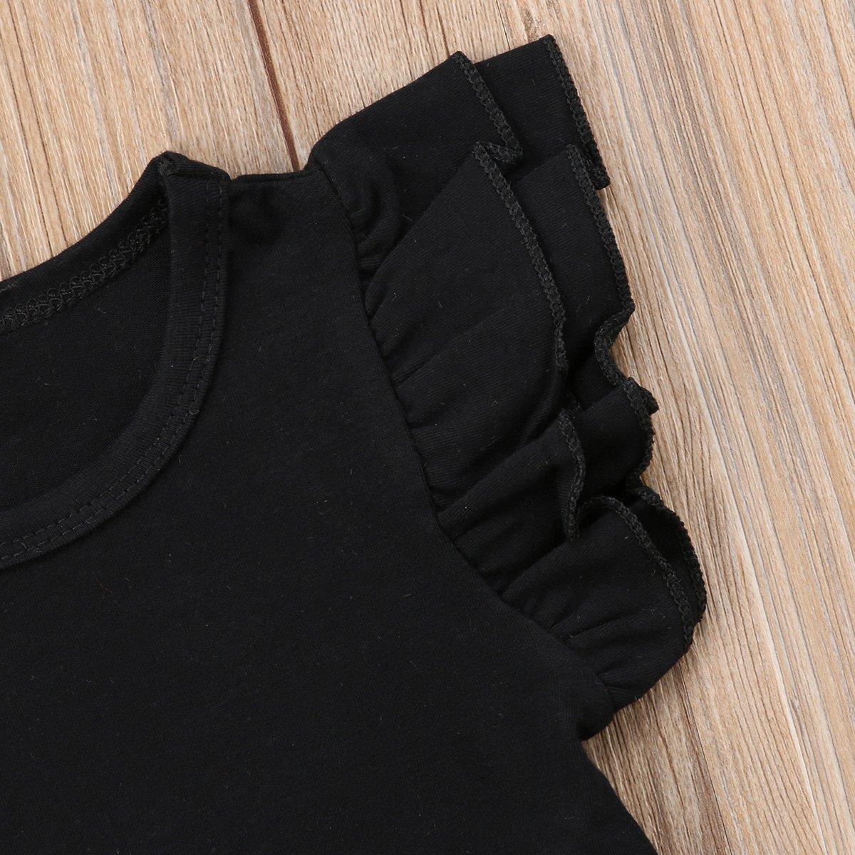 Mubineo Toddler Baby Girl Basic Plain Ruffle Sleeve Cotton T Shirts Tops Tee Clothes