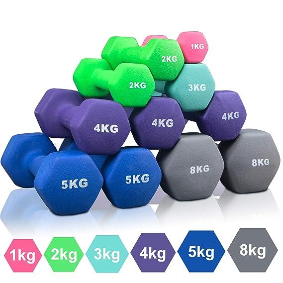 Arteesol Mancuernas 1kg 2kg 3kg 4kg 5kg 8kg Pesas de Neopreno1 Par para Hombres y Mujeres (Azul-2x5kg): Amazon.es: Deportes y aire libre