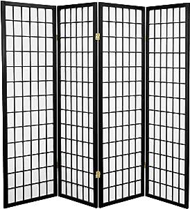 Oriental Furniture 5 ft. Tall Window Pane Shoji Screen - Black - 4 Panels