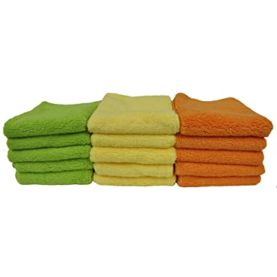 Detailer's Preference Eurow Microfiber Cleaning Cloth Home Bath and Car Towels 3 Colors - 15 Pack: Automotive