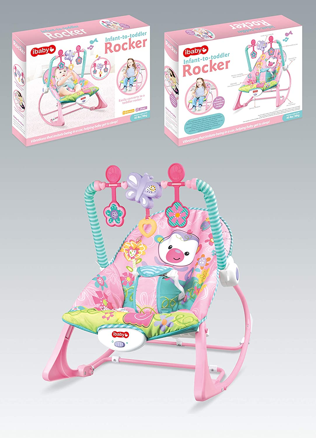 Infant to Toddlers Bouncing Rocker Newborn Vibration Musical Baby Chair Pink iBaby