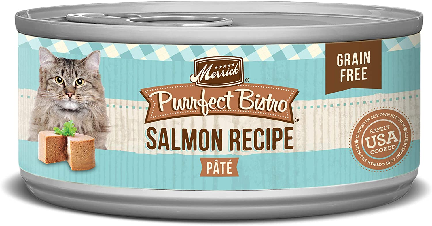 Merrick Purrfect Bistro Grain Free Pate Wet Cat Food Salmon (24) 5.5oz cans
