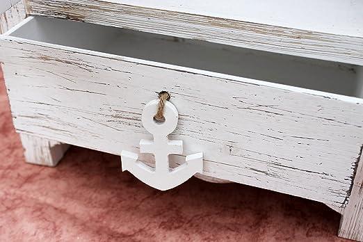 DanDiBo Barca ad armadio Set da 2 120001 Scaffale 60 e 123 cm Scaffale da bagno Shabby Armadio-bagno bianco