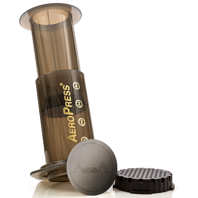 The Ultra - Filtro de café de acero inoxidable para cafetera AeroPress de Greener Solutions Se puede lavar y reutilizar. -