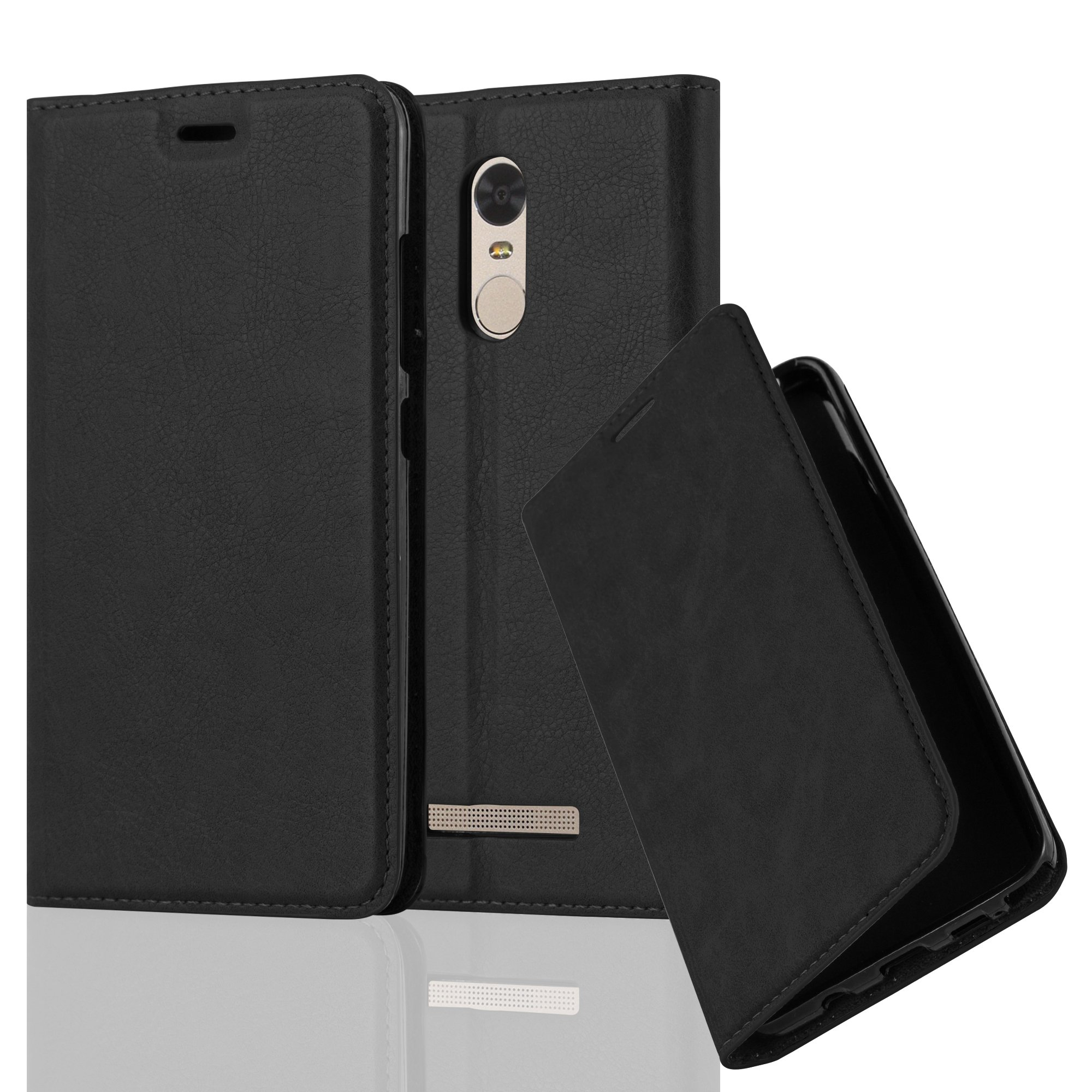 Cadorabo Case works with Xiaomi RedMi NOTE 3 Book Case in NIGHT BLACK (Design INVISIBLE CLOSURE) – with Magnetic Closure, Stand Function and Card Slot – Wallet Case Etui Cover PU Leather