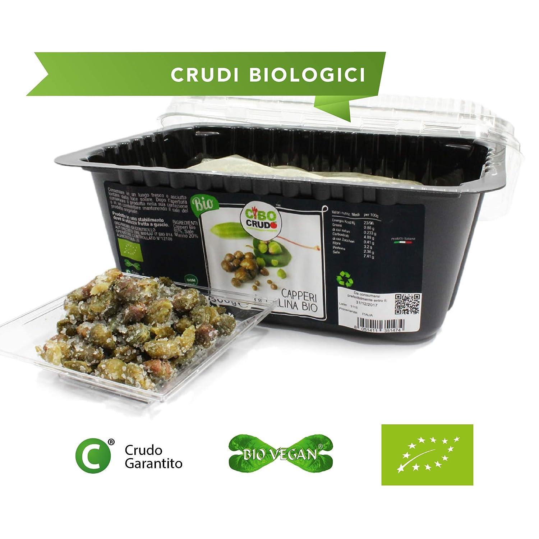 CiboCrudo Capperi di Salina Biologici Crudi, Raw Organic - 500 gr - Prodotto Italiano, Bio e Naturali, Sotto Sale, Misura Gigante, Chiusura Ermetica, Etichette in Italiano