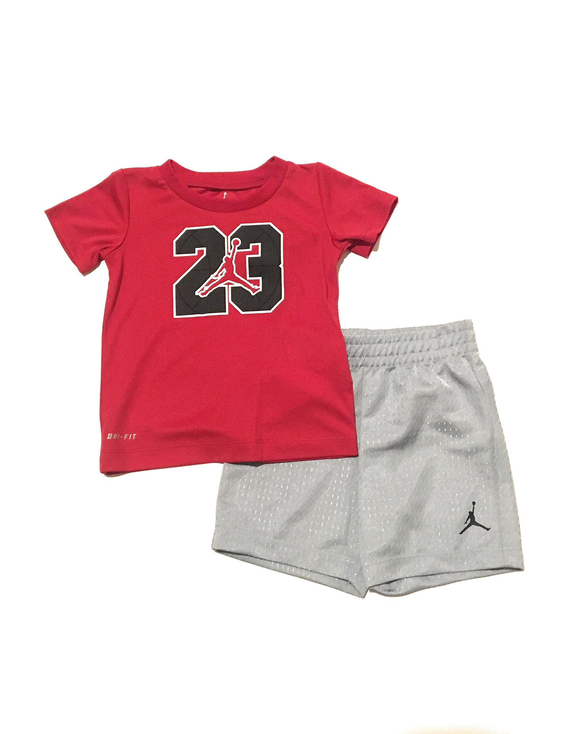 Jordan Jumpman Infant Boys T-Shirt and Shorts Set Red/Wolf Grey Size 24 Months by Jordan