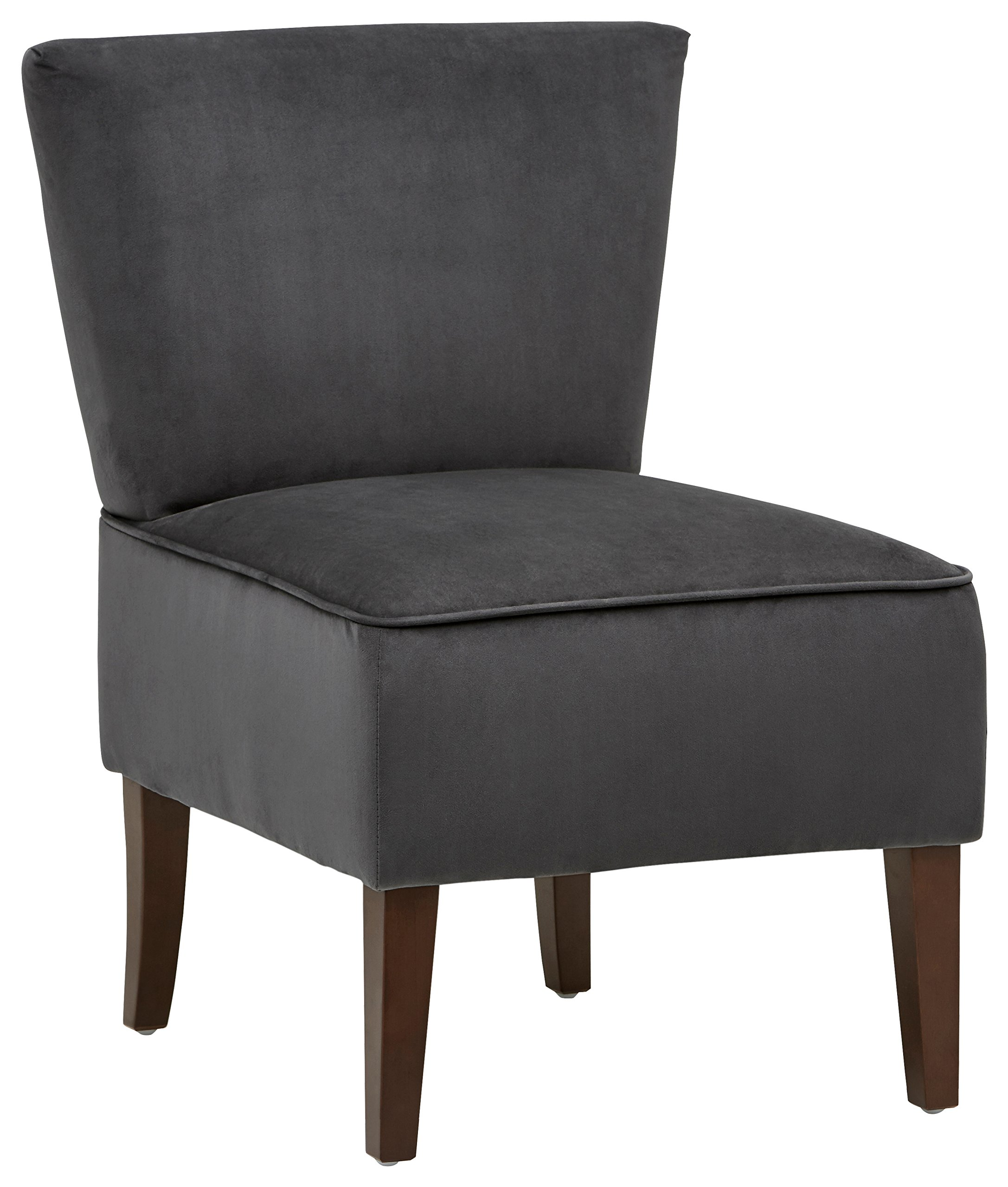 "Rivet Ashworth Armless Velvet Accent Chair, Steel Grey - This modern yet classic chair can blend easily with your existing styles. The angular and armless design is compact and can fit in a corner of a living room or bedroom. 21.6 ''W x 27.2""D x 32.3''H Sturdy legs made of solid beech wood with espresso-color finish - living-room-furniture, living-room, accent-chairs - 8158mQ5YDuL -"