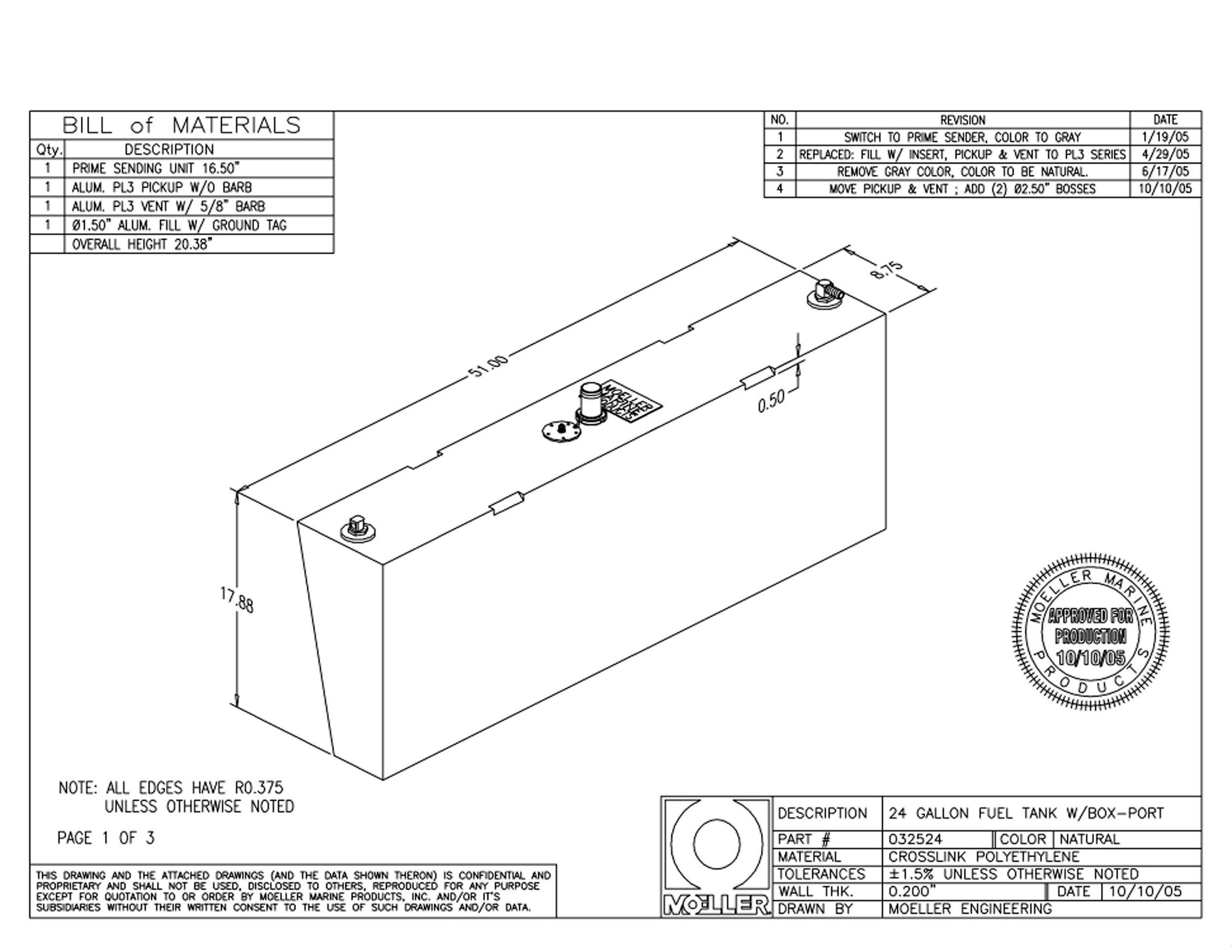 Moeller Marine Below Deck Permanent Fuel Tank with Port Side Withdraw (24-Gallon, 51'' x 8.75'' x 5.25'' x 17.88'') by Moeller Marine (Image #2)