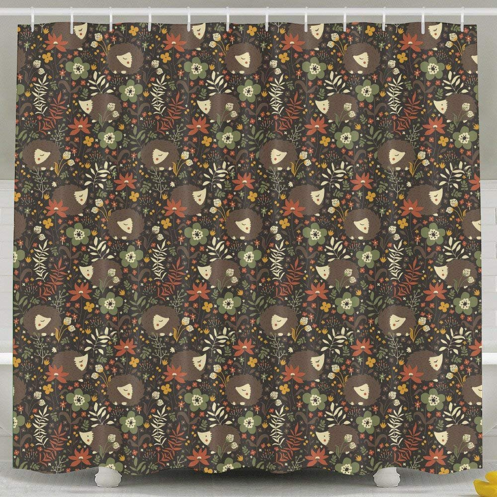 2018 Mats Cute Grey Hedgehogs Shower Curtain Fabric Bathroom Shower Curtain Set,72x72 Inch 183 CM X 183 CM