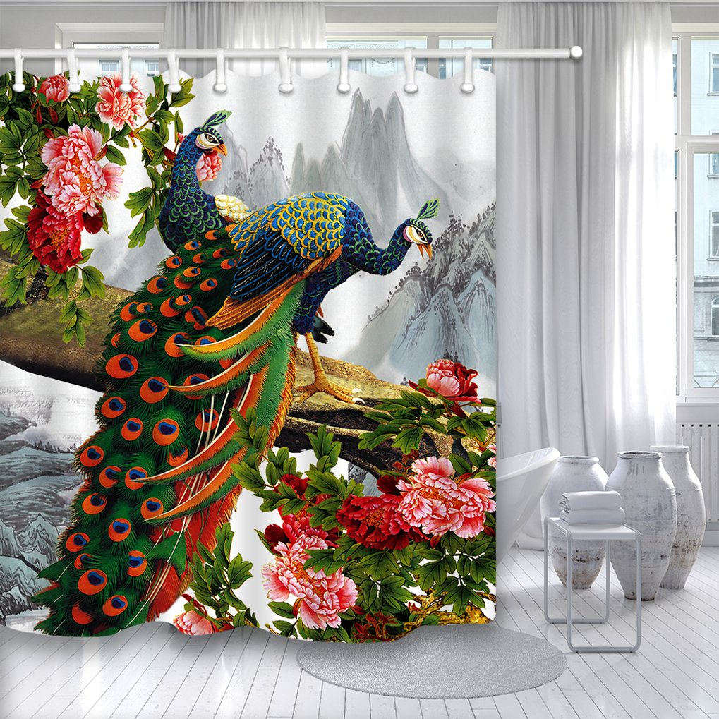 NYMB Glamorous Peacock In Peony Flower On Landscape Painting Shower Curtain Mildew Resistant Waterproof Fabric Bathroom Decorations Bath Curtains Hooks