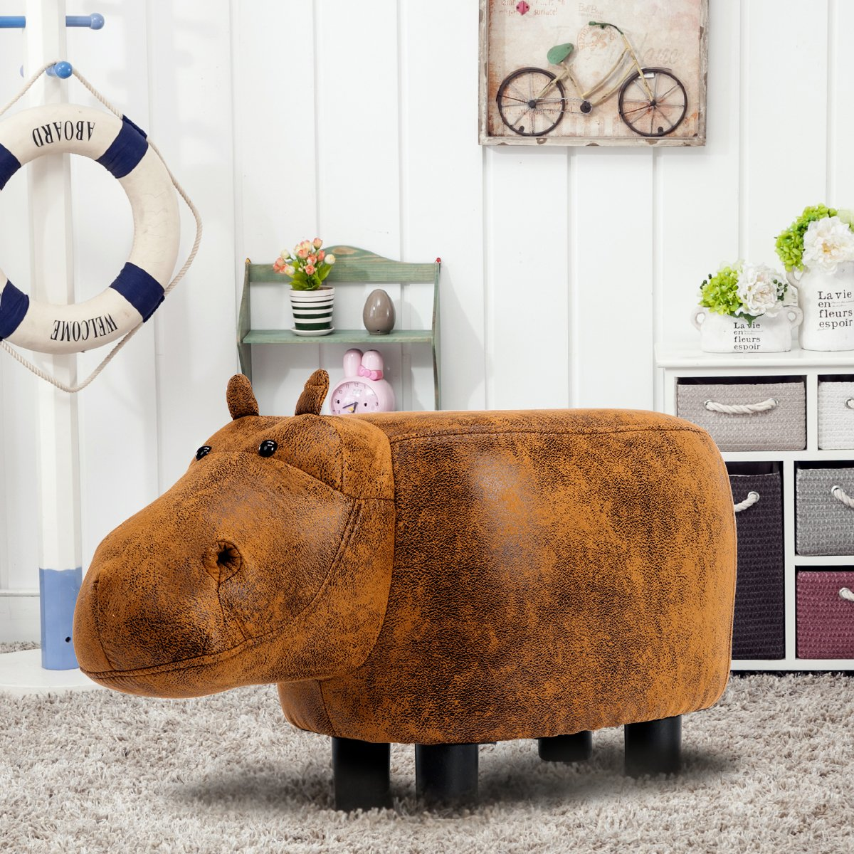 Guteen Upholstered Ride-on Toy Seat Ottoman Footrest Stool with Vivid Adorable Animal-Like Features(Brown Hippo) by GUTEEN (Image #5)