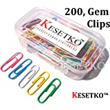 KESETKO™ Paper Clips, U Clips, Gem Clips, 30mm, (200 PCS) Multicolored for Office, Home