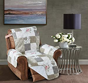 Brilliant Sunshine Rose and Toile Patchwork Recliner Protector for Seat Width up to 26
