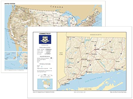 Amazoncom 13x19 Connecticut And 13x19 United States General - Connecticut-in-us-map